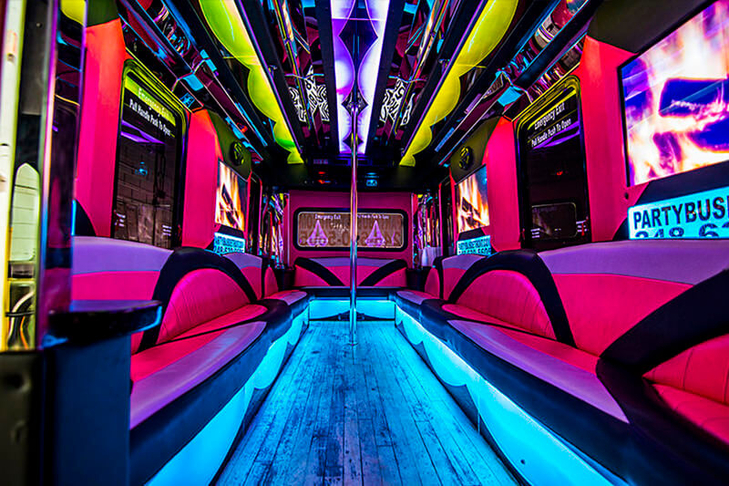 24 Passenger Pink Party Bus